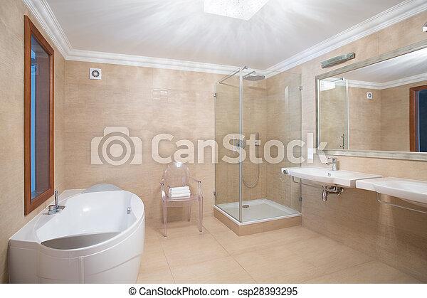 elegante, cuarto de baño, espacioso