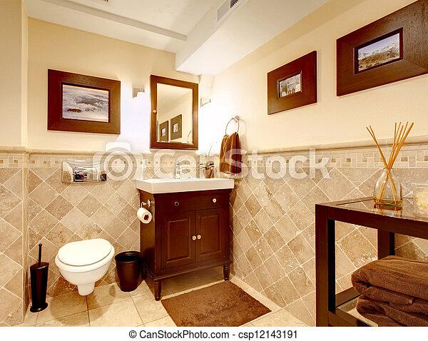 Elegante, cuarto de baño, interior., clásico, hogar. Cuarto de baño ...
