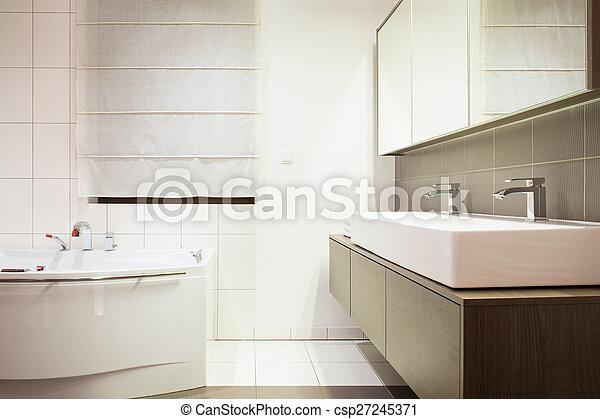 Elegante, cuarto de baño, lujo. Elegante, lavabo, cuarto de ...