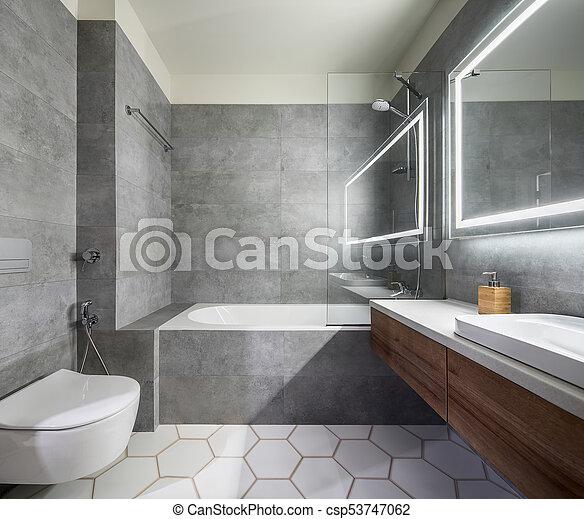 elegante, cuarto de baño, moderno, estilo