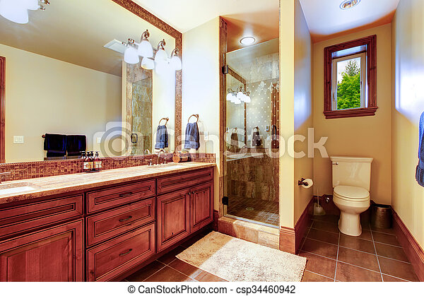 Elegante, cuarto de baño, tibio, coloreado, interior. Marrón, cuarto ...