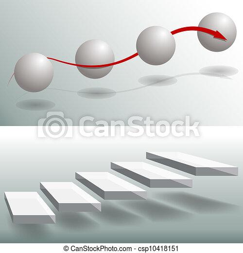 elegante, escadas, gráficos, negócio, esfera - csp10418151