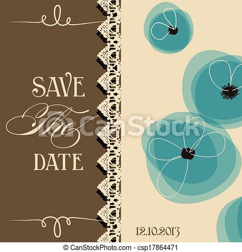 Guarda la invitación elegante, diseño floral - csp17864471