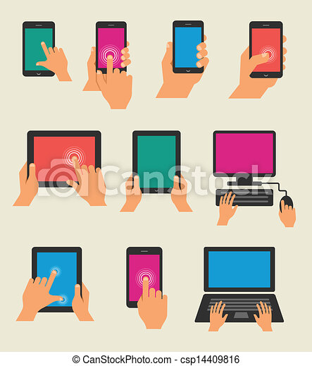 Manos a mano sujetando tabla y teléfono inteligente - csp14409816