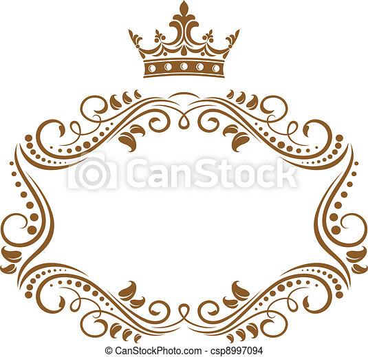 elegante, marco, corona real - csp8997094