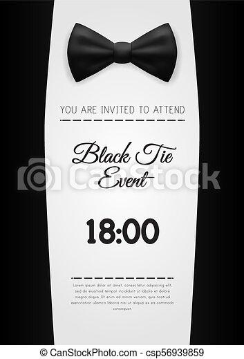 elegante, negro, a4, plantilla, invitación, corbata, acontecimiento