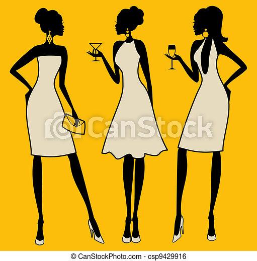 elegante, partido, mulheres - csp9429916