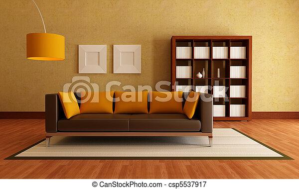 elegante, quarto moderno, vivendo - csp5537917