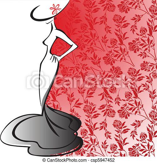 elegante, silhouette, signora - csp5947452