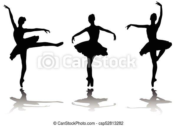 elegante, siluetas, bailarinas - csp52813282