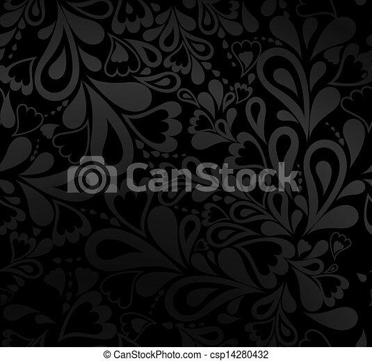 Elegante patrón negro sin costura. Vector - csp14280432
