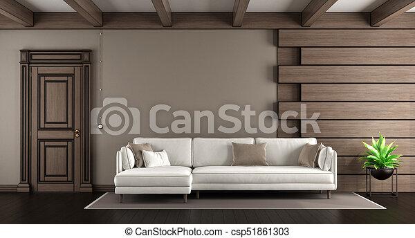Un sofá blanco en un salón elegante - csp51861303