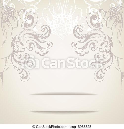 elegante, vindima, fundo, convites - csp16988828