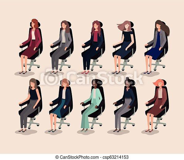 elegants businesswomen sitting in office chairs - csp63214153