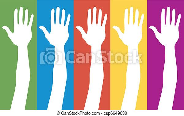 eleição, geral, votando, hands. - csp6649630