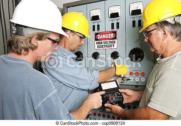 elektriciens, spanning, hoog - csp0908124