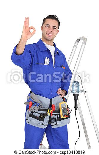 elektriker, ok, gebärde - csp10418819