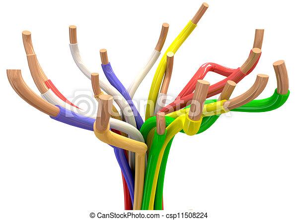Elektrisch, abstrakt, kabel. Kupfer, enden, drähte, bunte ...