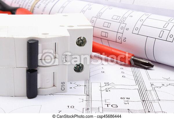 Elektrisch, diagramme, arbeit, sicherung, elektrisch,... Stockfoto ...