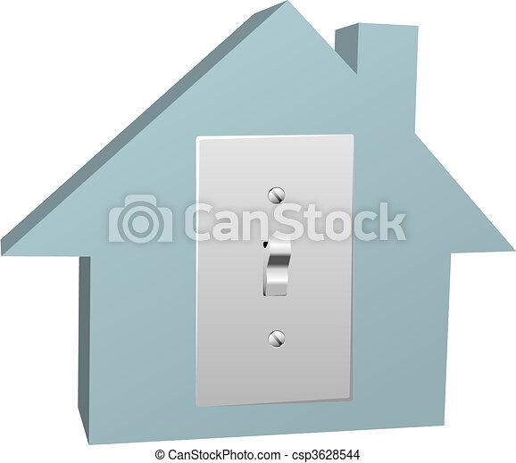 Great Elektrisch, Elektrizität, Haus, Schalter, Licht, Daheim   Csp3628544