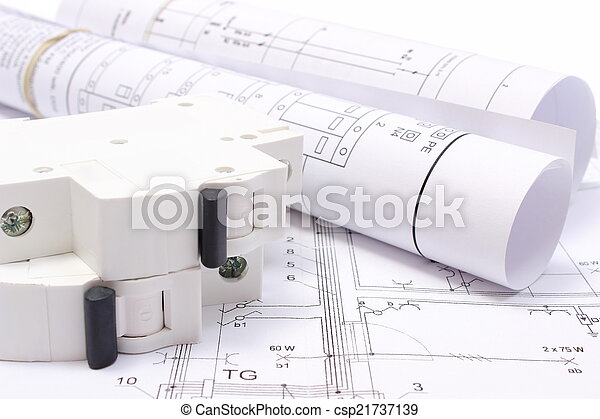 Elektrisch, Gerollt, Haus, Sicherung, Baugewerbe, Elektrisch, Zeichnung,  Diagramme