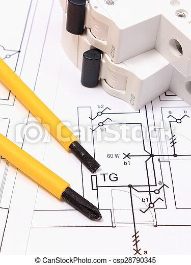 Elektrisch, Haus, Schraubenzieher, Sicherung, Bauzeichnung   Csp28790345