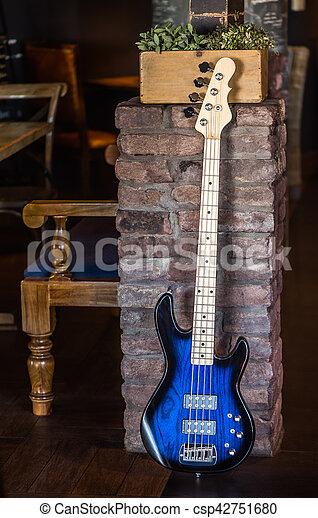 elektrisch, muur, tegen, gitaar, neiging, baksteen - csp42751680