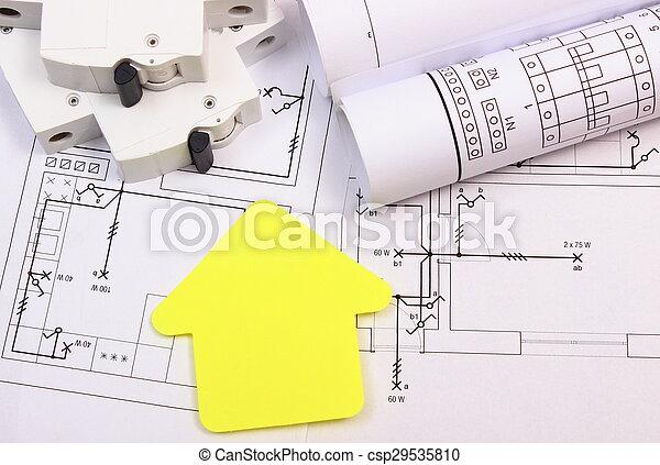 Elektrisch, papier, haus, sicherung, baugewerbe, gelber , zeichnung ...
