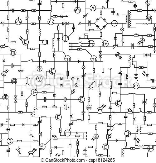 Elektrisch, seamless, circuit. Transistor, stromkreis, seamless ...