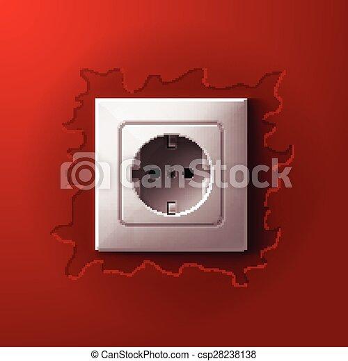 Elektrisch, wand, realistisch, hintergrund, weiß rot,... Vektoren ...