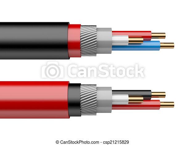 Elektrisches kabel. Kabel, freigestellt, elektrisch,... Clipart ...