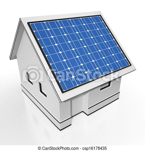 Elektrizität, Haus, Ausstellung, Sonnenkollektoren, Sonne, Ausschüsse    Csp16178435