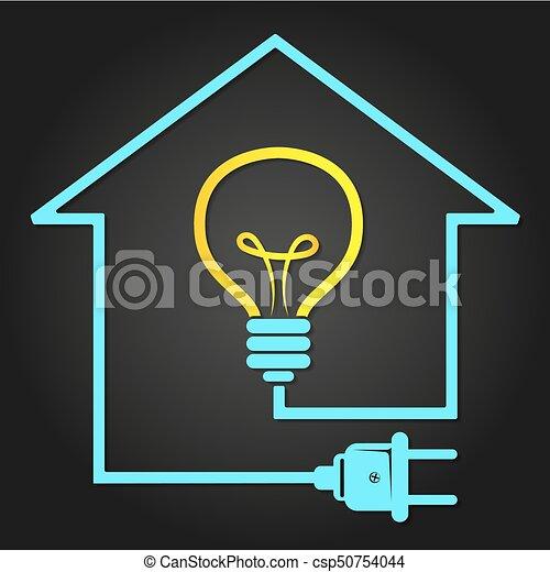 Attractive Elektrizität, Haus, Symbol   Csp50754044