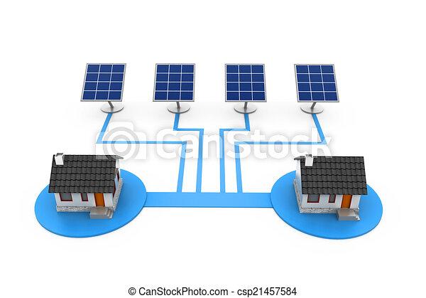 Marvelous Elektrizität, Haus, Tafel, Sonnenkollektoren, Versorgung   Csp21457584