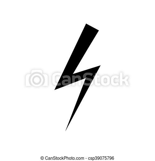 Elektrizität, icon., symbol., blitz. Wohnung, silhouette ...