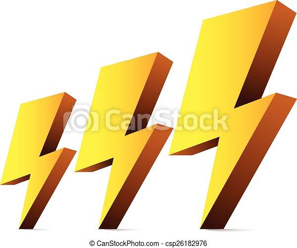 Elektrizität, thunders, symbole, funkeln, blitze, 3d.