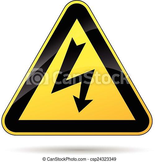 Elektrizität, zeichen. Elektrizität, dreieck, abbildung, gelbes zeichen.