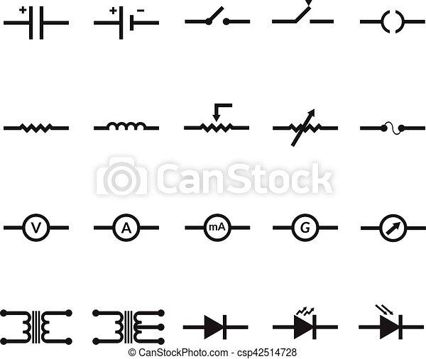 Elektronisch, symbol, vektor, eps10, elektrisch. Vektor, symbol ...