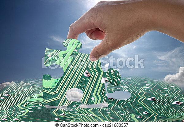 elektronowy, wyrzynarka, pattern., ręka - csp21680357