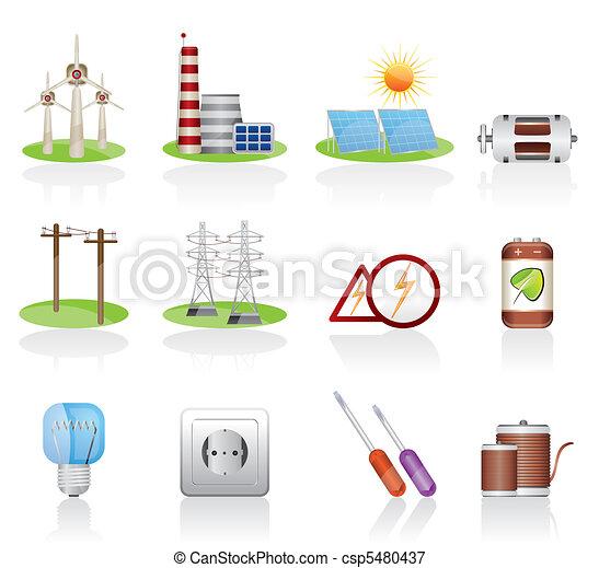 elektryczność, moc, ikony - csp5480437