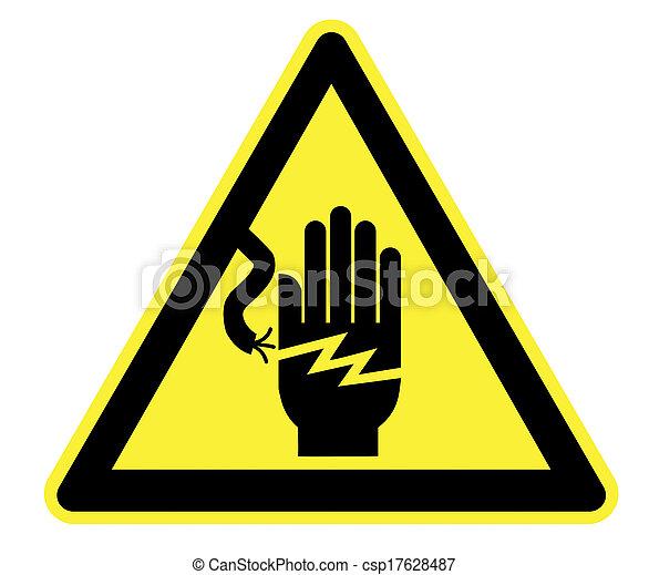 elektryczność, ostrzeżenie triangel, żółty - csp17628487