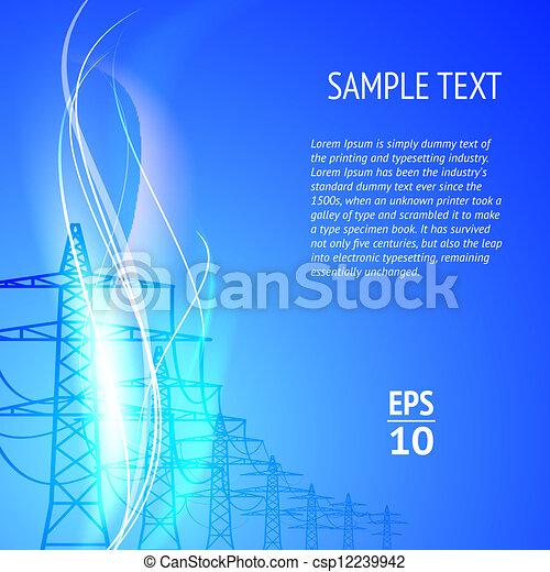 elektryczność, silhouett, pylony - csp12239942