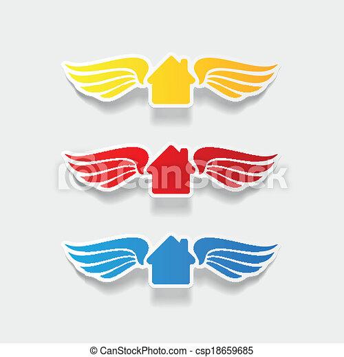 element:, casa, costruzione, realistico, disegno, ala - csp18659685