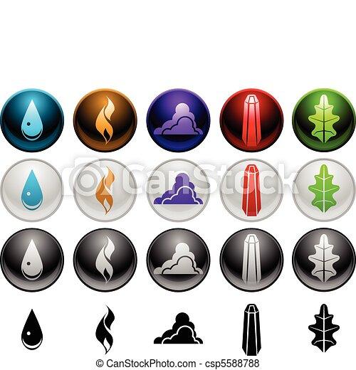 Element Symbols Five Element Symbols In Four Different Styles