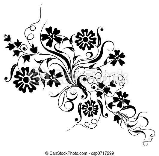 element, vector, ontwerp, floral - csp0717299