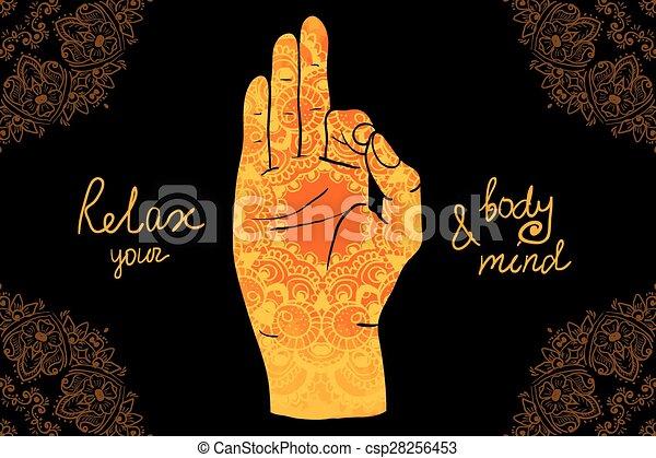 Mehndi Patterns Vector : Element yoga mudra hands with mehndi patterns vector clipart