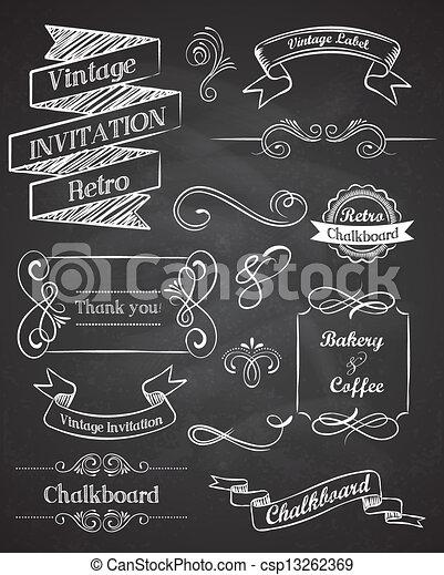 elementara, årgång, hand, vektor, chalkboard, oavgjord - csp13262369