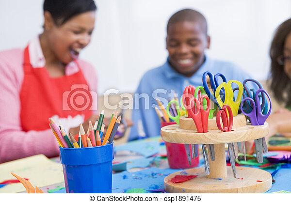 Elementary school art class - csp1891475