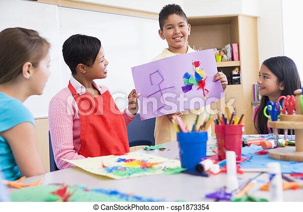 Elementary school art class - csp1873354