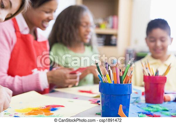 Elementary school art class - csp1891472